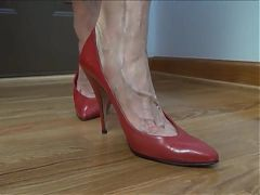 Mature Lady squeaky red pumps and sexy veiny foot tease