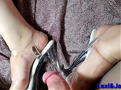 Clear Stripper Heels Shoejob, Jerking to Her Bare Feet Fetish