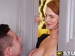 Redhead with natural tits moans during vibrator play while stuck