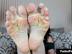Hot Allison Real Heel Slides Her Soles and Toes On A Hard Cock