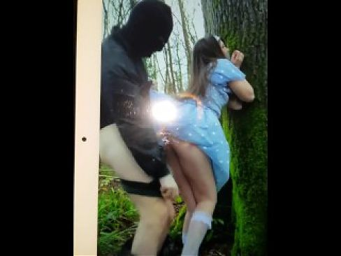 Hot Step Daughter's Ass Fucked in the Woods By Masked Strangers