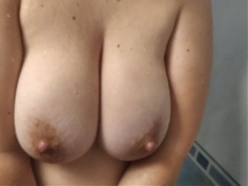 Chubby wife with HUGE NATURAL TITS, sees the COCK, and jerks her off